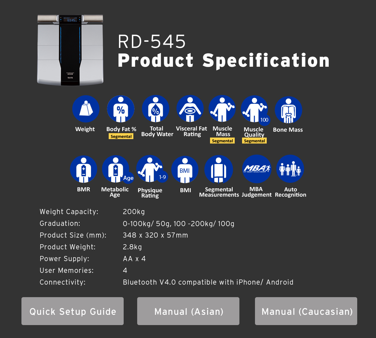 rd 545 the no 1 segmental body composition monitor for smartphones\